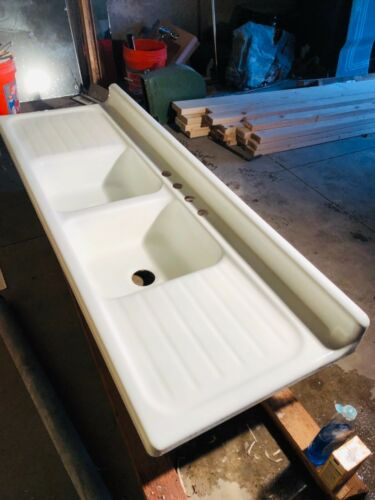 Vintage 1950 Double drain board sink eBay (With images