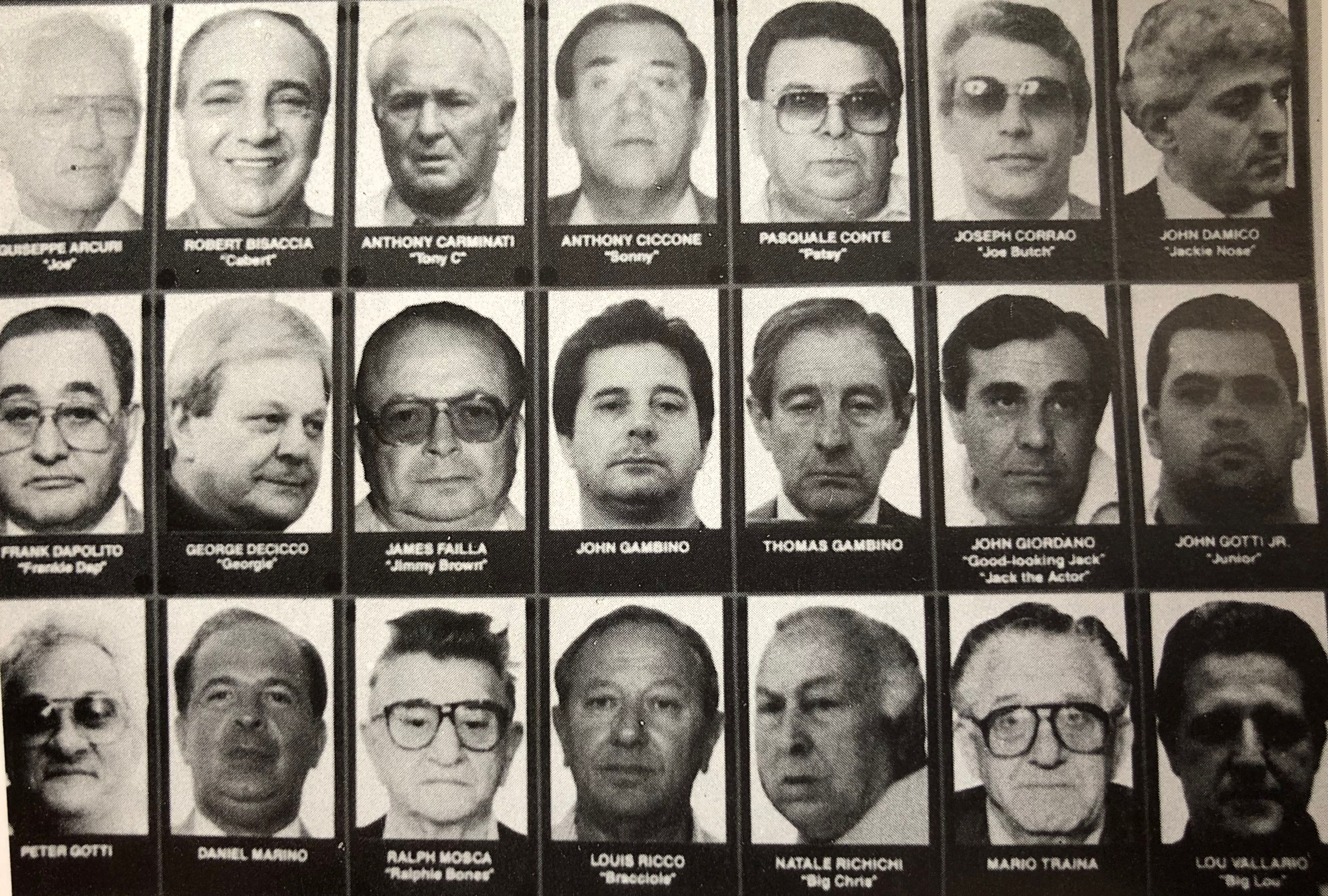 1991 chart of the Gambino family capos | Crime family, Organized crime,  Capos