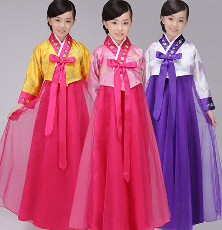 e7cf06e482 Amazon.com: CRB Fashion Girls Traditional Kids Korean Hanbok Outfit Dress  Costume: Clothing
