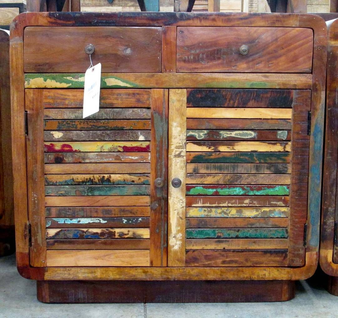 Recycled Wood Sideboard with two drawers and shelves ...