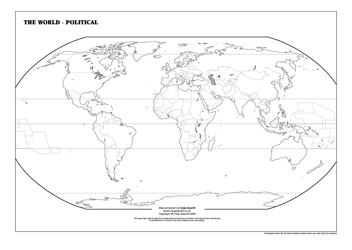 Free Printable Blank World Map