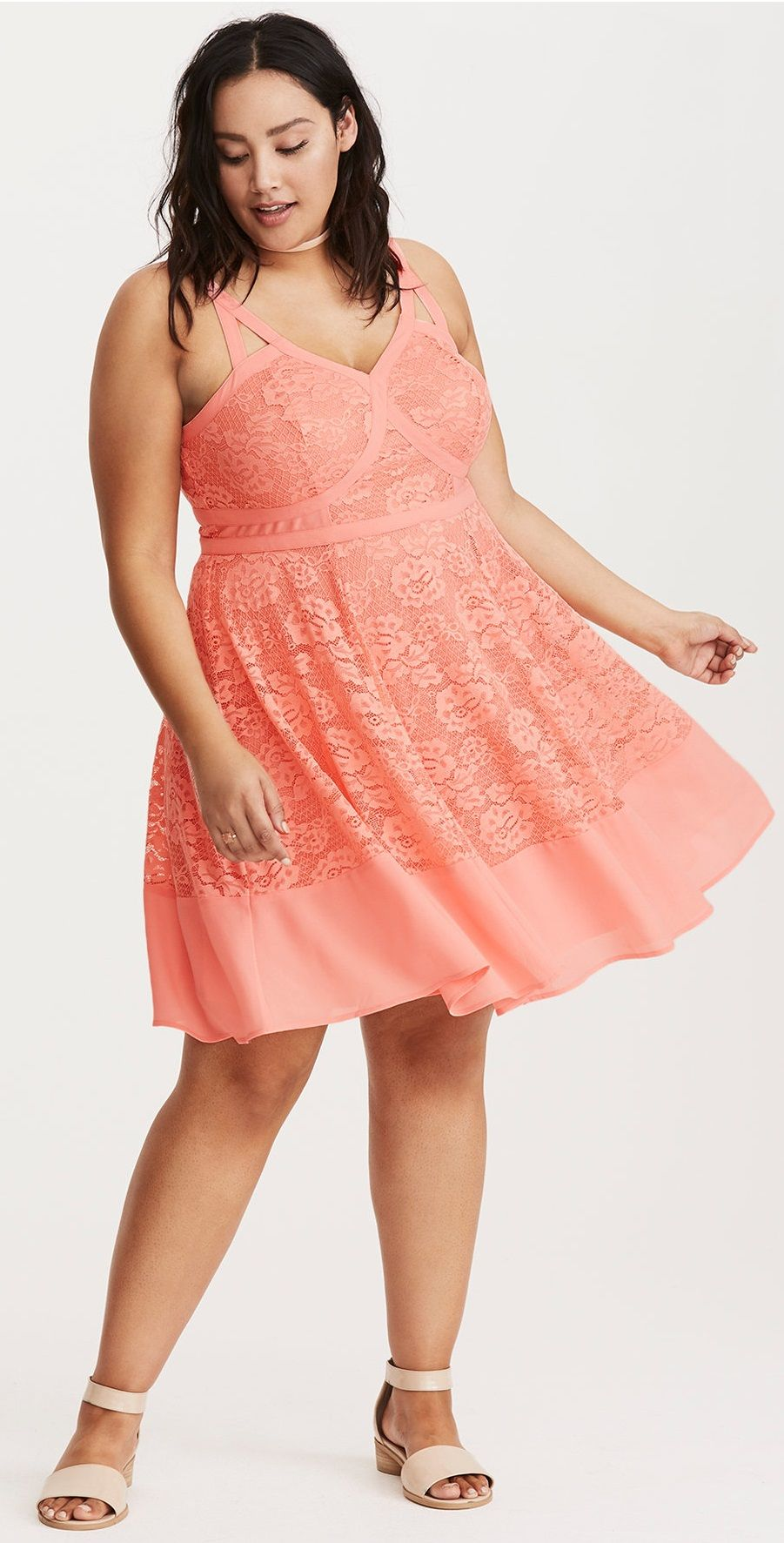 528ebbe8a5 Plus Size Strappy Lace Skater Dress
