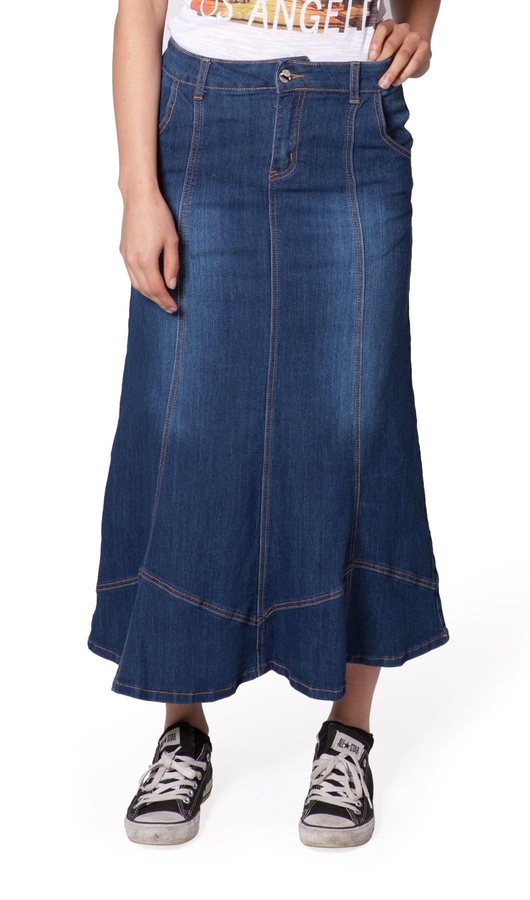 e8b608d1a0d5e9 flared long denim skirt from Denim Skirts Online. £22 #longdenimskirt #denim  #denimfashion