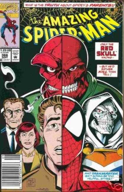 Taskmaster - Red Skull - Parents - Peter Parker - Split - Mark Bagley | Amazing spider man comic, Spiderman comic, Marvel comics covers