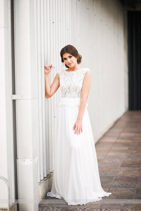 Peplum and Lace Wedding Dress with Bow