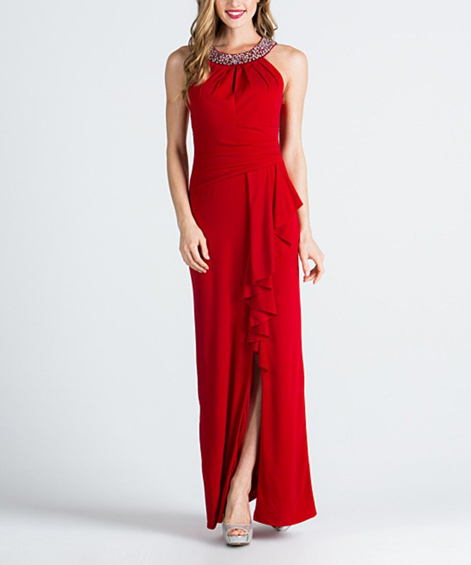 Take a look at this red ruffledslit jeweled yoke gown today