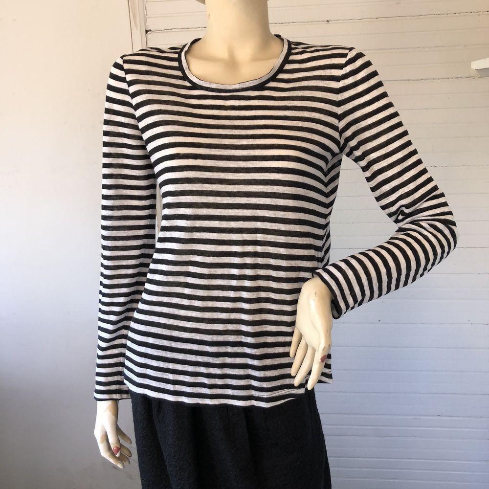 bc1a2e2a2c7 ALC A.L.C. 100% Linen LS Black White Striped Knit Tee Shirt Top XS USA  ALC   KnitTop  Versatile