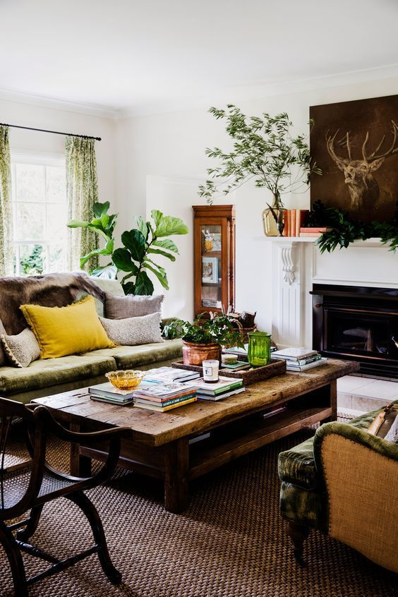 Bohemian style living room decor featuring rich colors and natural
