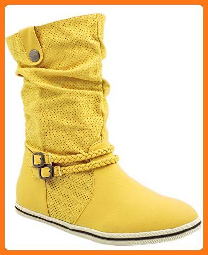 Damen Schuhe Boots Schlupf Flach Stiefel Stiefeletten Neu 80mwNn