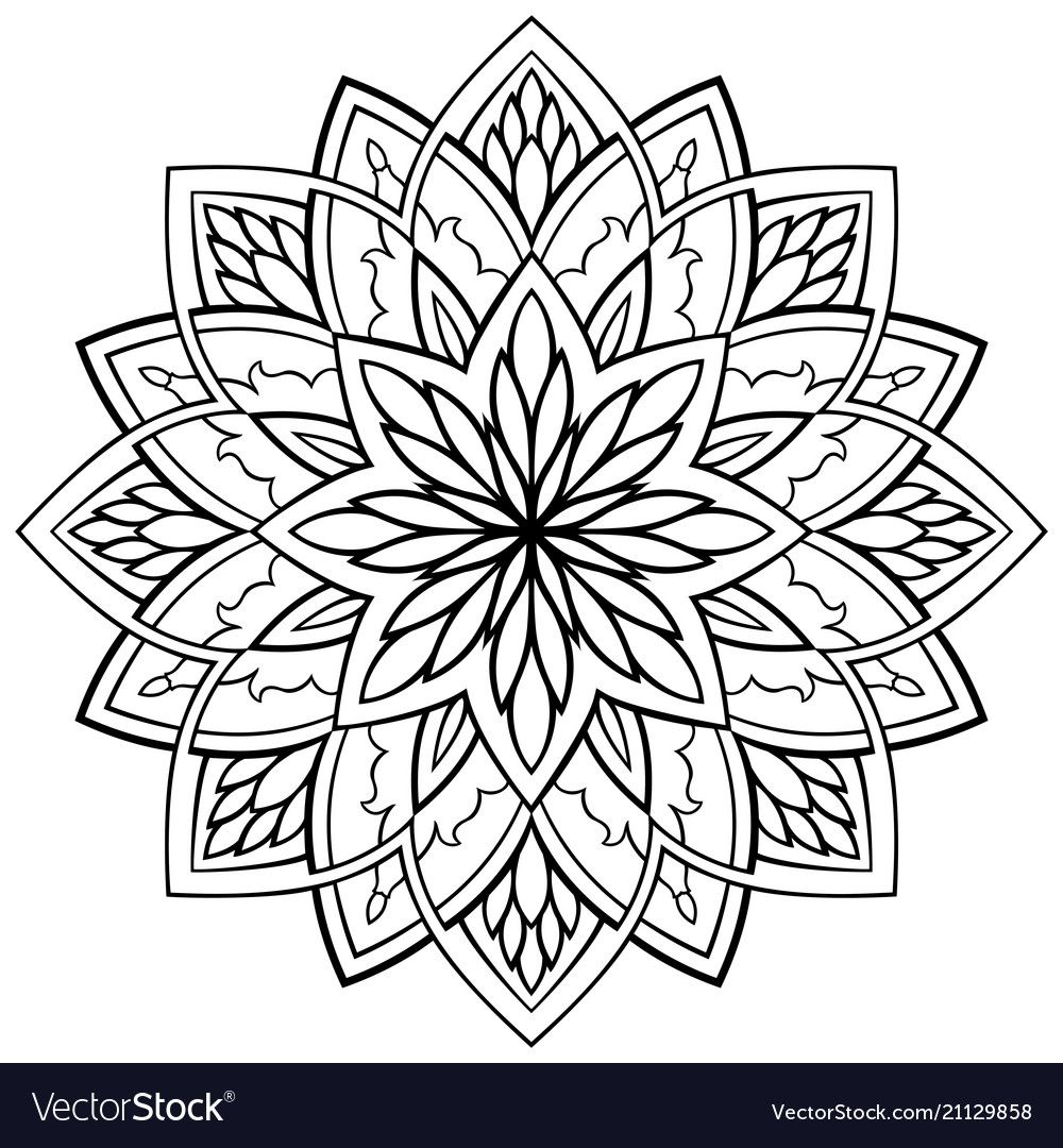 Ornamental simple mandala vector image on (With images