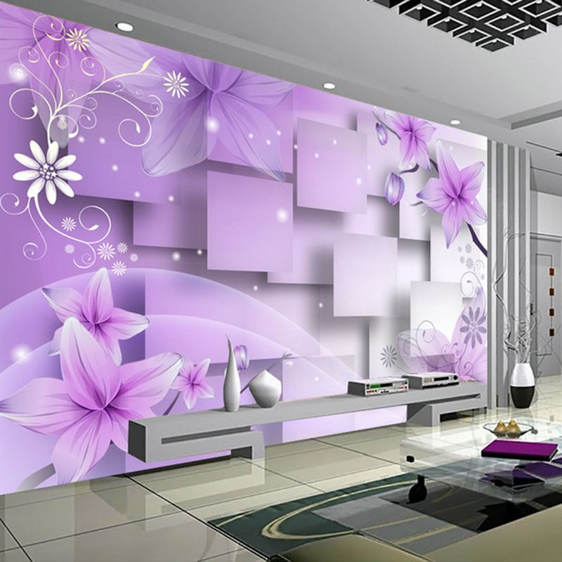 Modern minimalist purple flowers  stereoscopic abstract tv background wallpaper living room wall decoration painting mural also rh pinterest