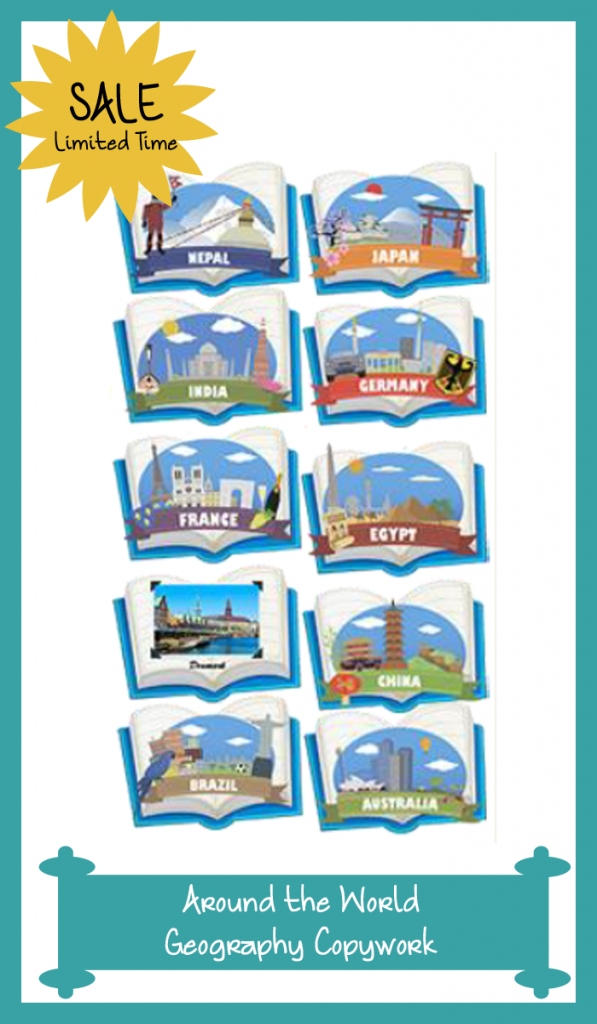 My Book About…included in Around the World Geography Copywork takes elementary students to four cities in the title country. Each book introduces kids to the past and present of these cities through simple copywork exercises and shares ways kids can pray for the nation. Nations featured in this bundle include Australia, Brazil, China, Denmark, Egypt, France, Germany, India, Japan, and Nepal.