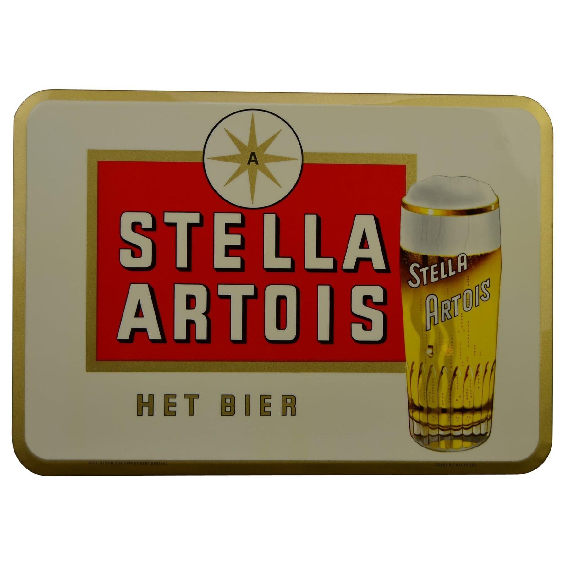 1960s Stella Artois Belgian Beer Sign Glacoid On Cardboard By Rob Otten En 2020