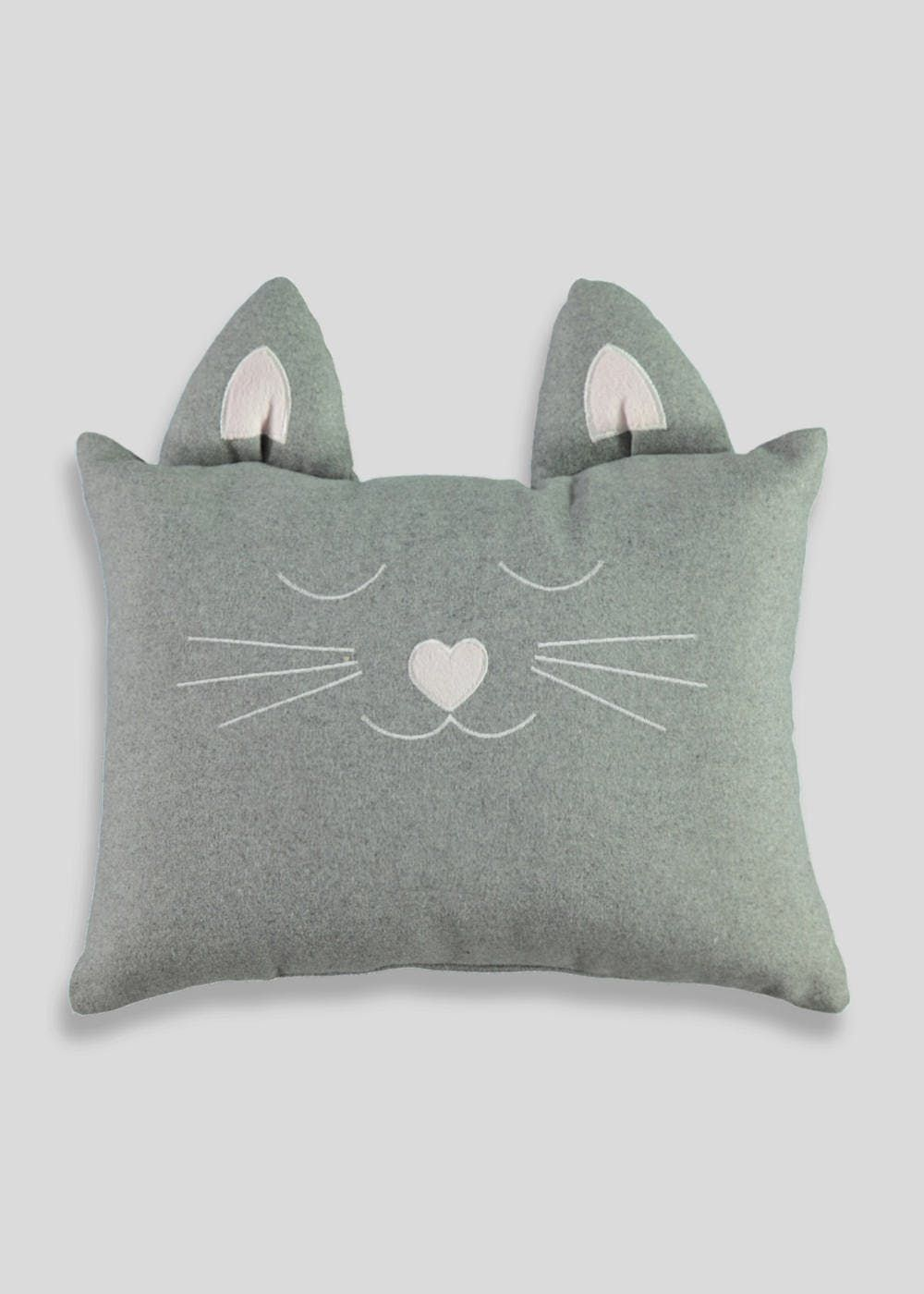 This super cute cat shaped cushion in grey has 3D ears and embroidered  whiskers. Dimensions 1915bfa24e