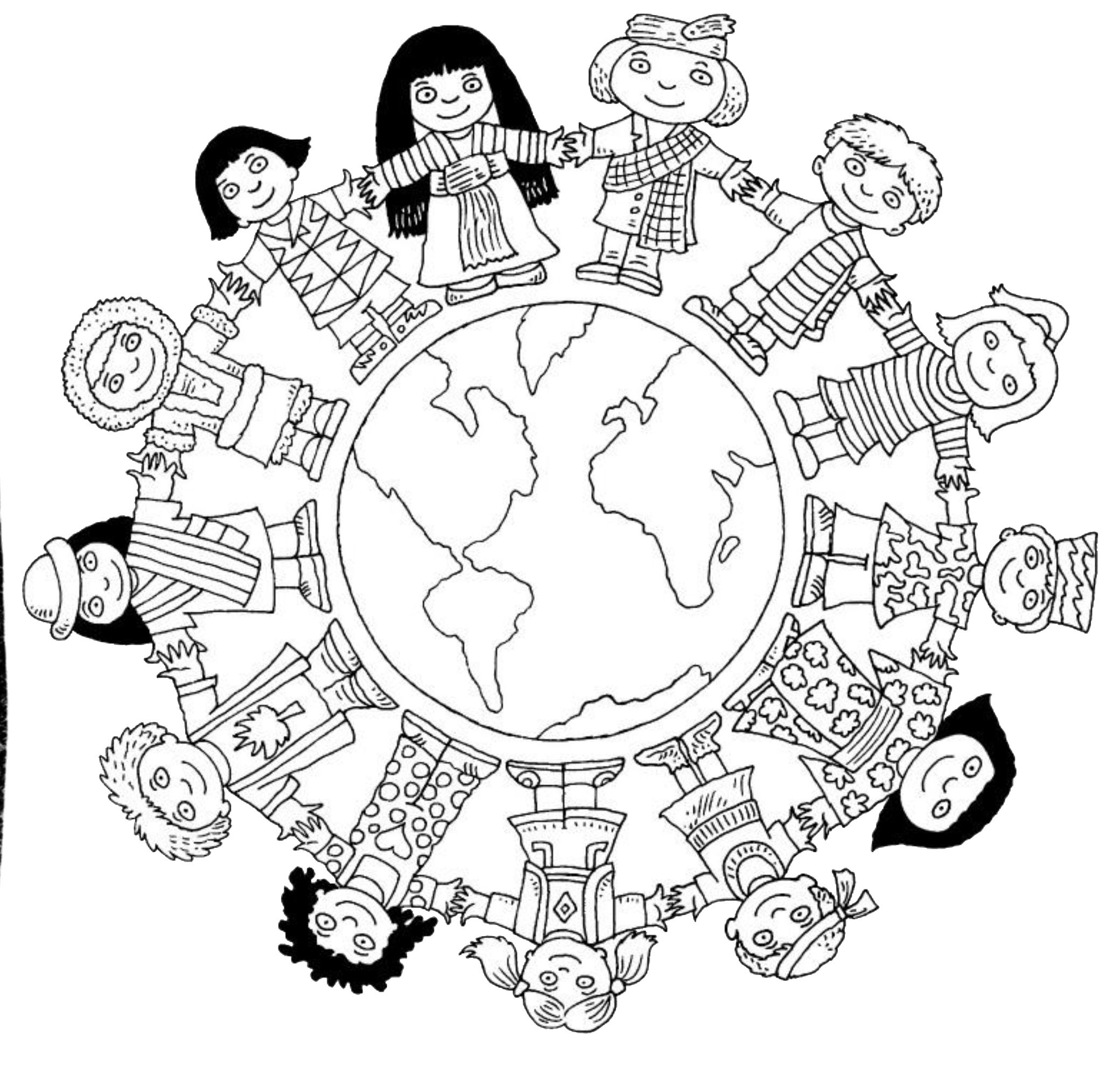 Children around the world coloring page