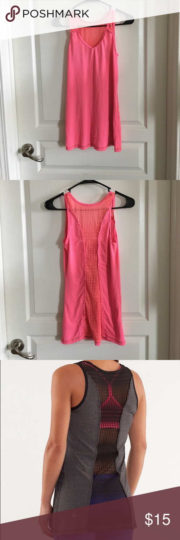 Lululemon Run: Tie and Fly Tank Sz 4 Lightweight mesh ruffle back tank with cinchable draw cords for customized fit. In excellent used condition. Only flaw is that logo fell off in the wash and is priced accordingly. No trades or PayPal. lululemon athletica Tops Tank Tops