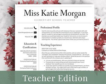 Teaching Resume Templates Elementary Teacher Resume Template For Word & Pages 13 Page .