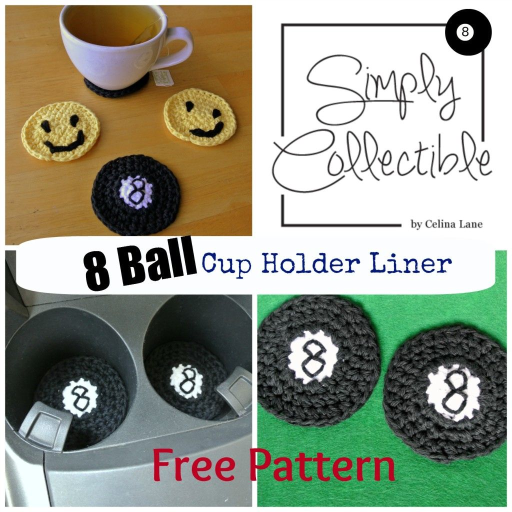 8-Ball Cup Holder Liner | Super Easy Free Crochet Pattern by Simply ...
