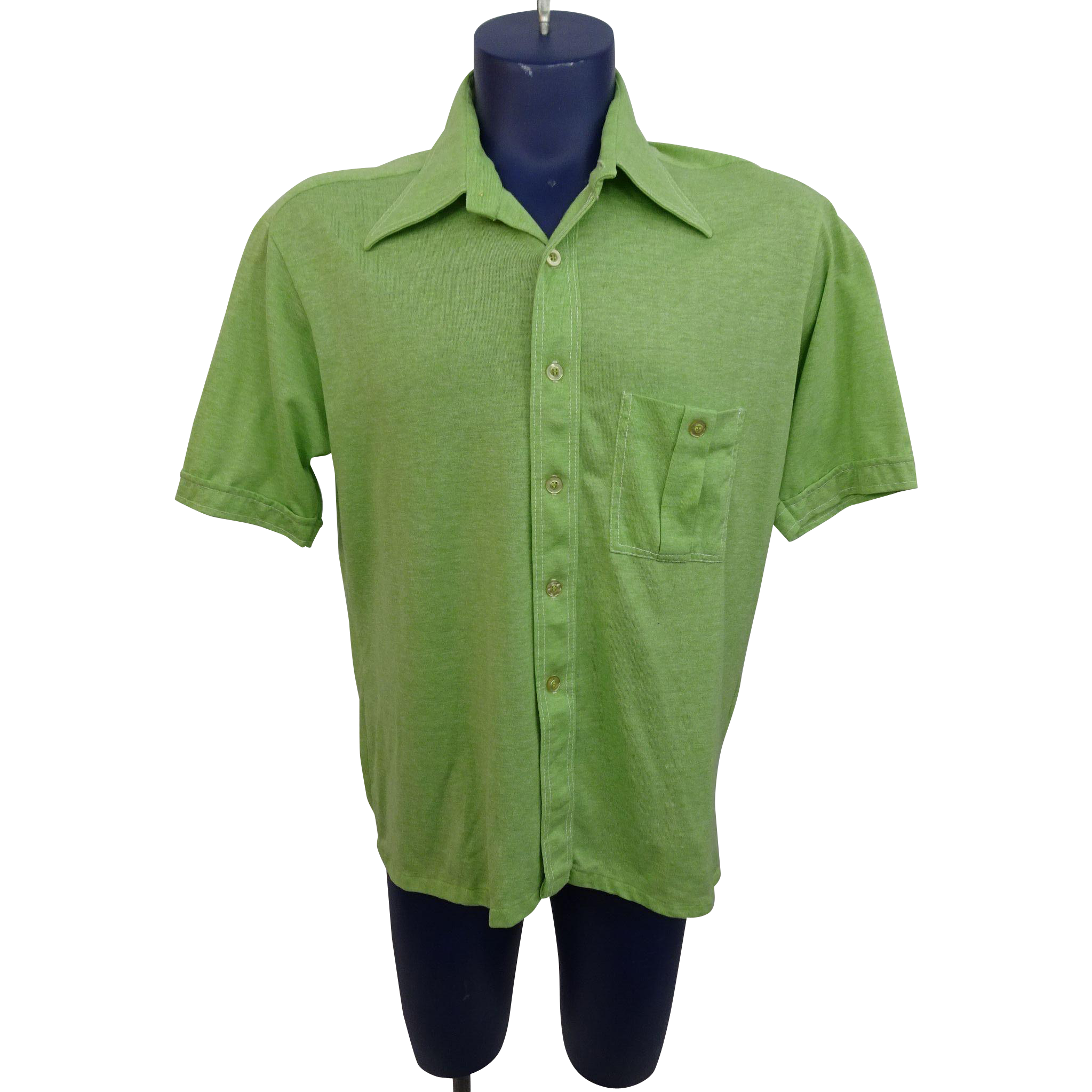 Vintage 1970s Mens Shirt Lime Green Donegal Tailored Button Front