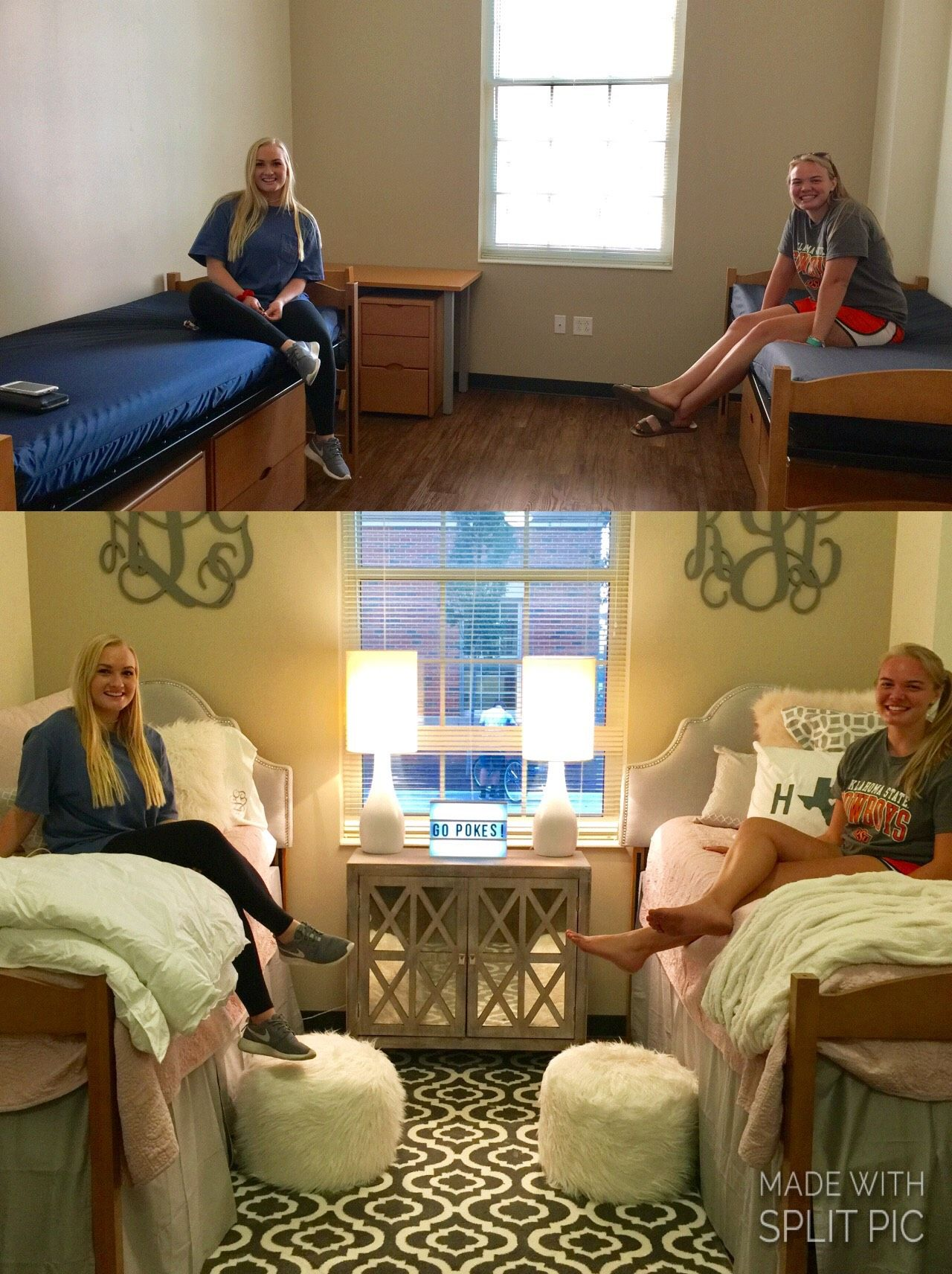 Before and After Dorm Pic from Oklahoma State University