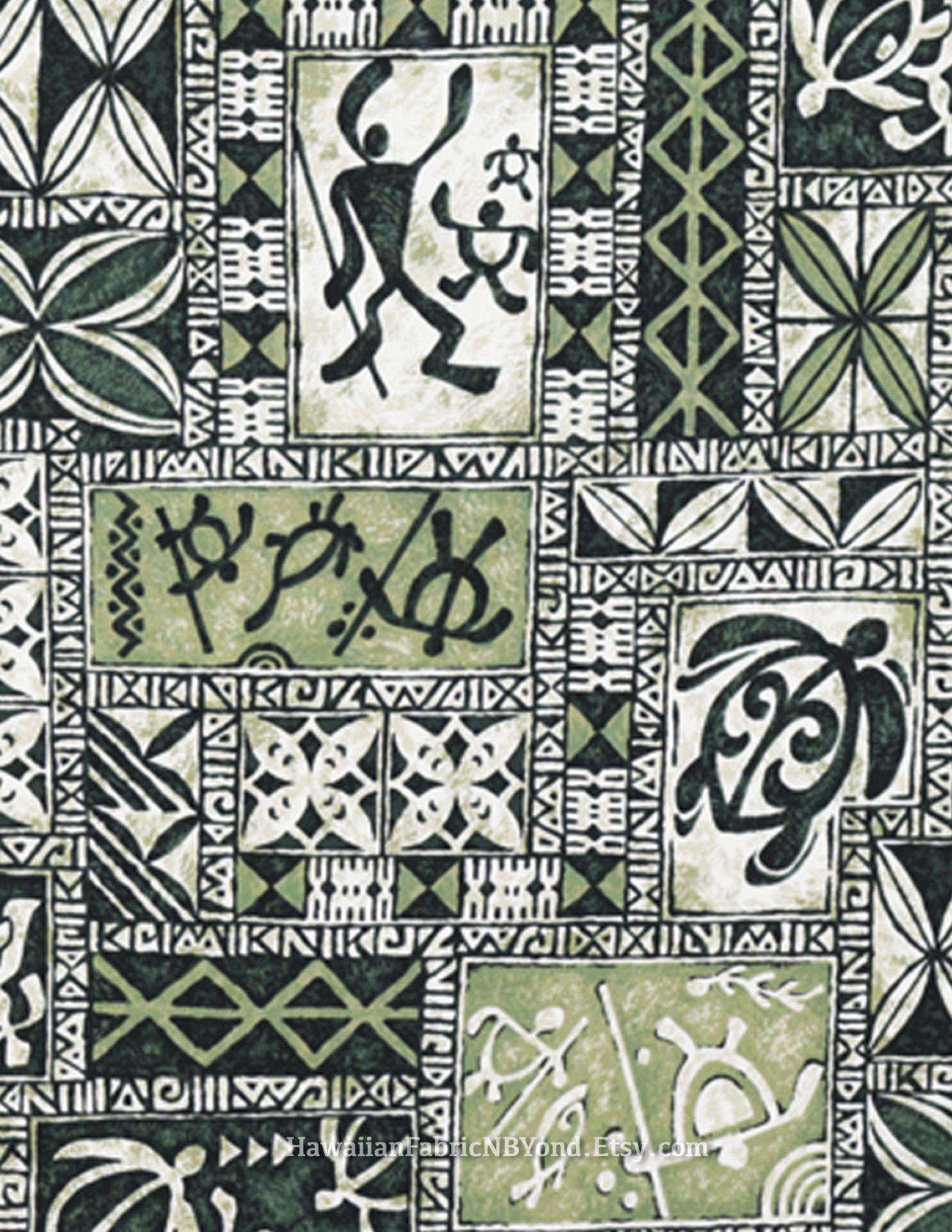 Hawaiian petroglyph fabric: Tribal tapa turtle and warriors. Check it out  at HawaiianFabricNBYond.