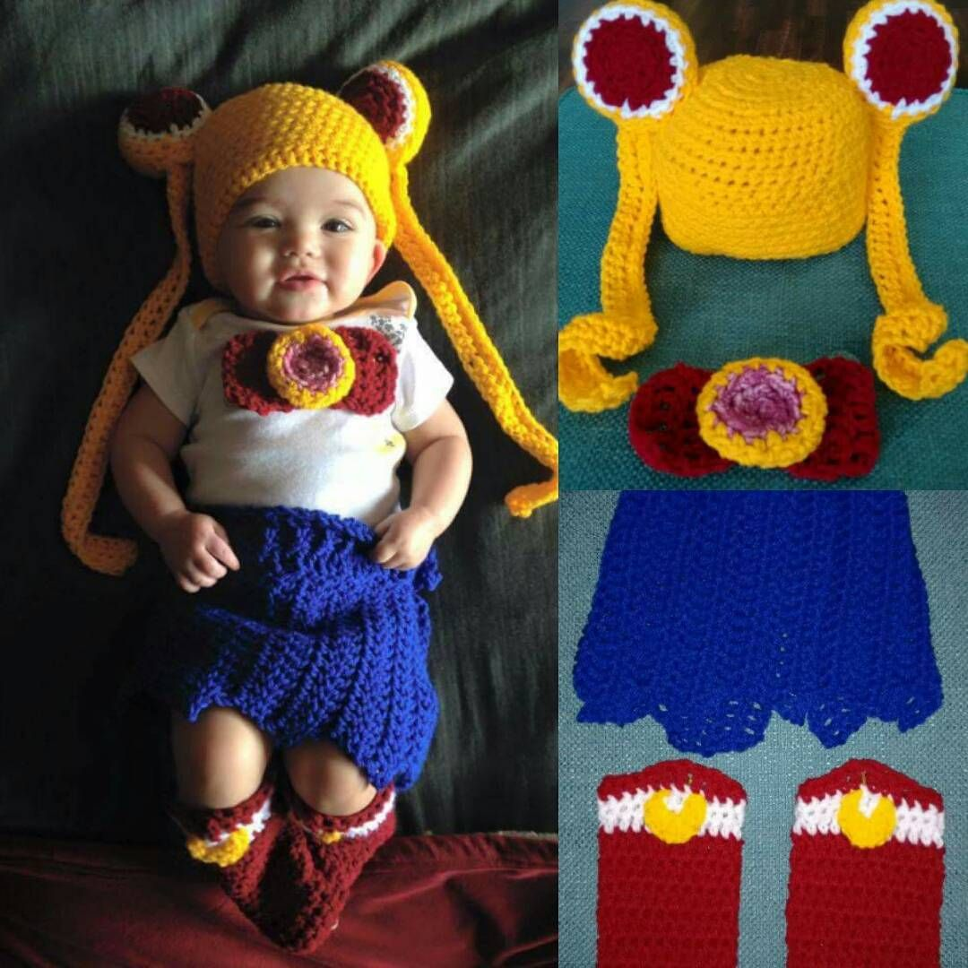 Crocheted Sailor Moon baby outfit #crochet #sailormoon #baby #costume #anime  sc 1 st  Pinterest & Crocheted Sailor Moon baby outfit #crochet #sailormoon #baby ...