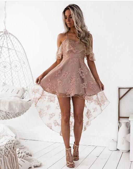7c8b3ff32282 High Fashion A-Line Lace Off-Shoulder High Low Short Homecoming ...