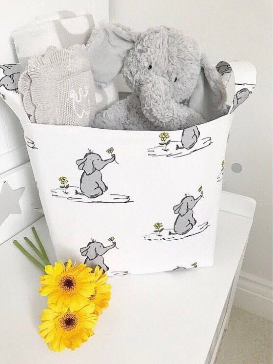 Baby Elephants Storage Basket - Nappy Bag, Diaper Caddy, Nursery ...
