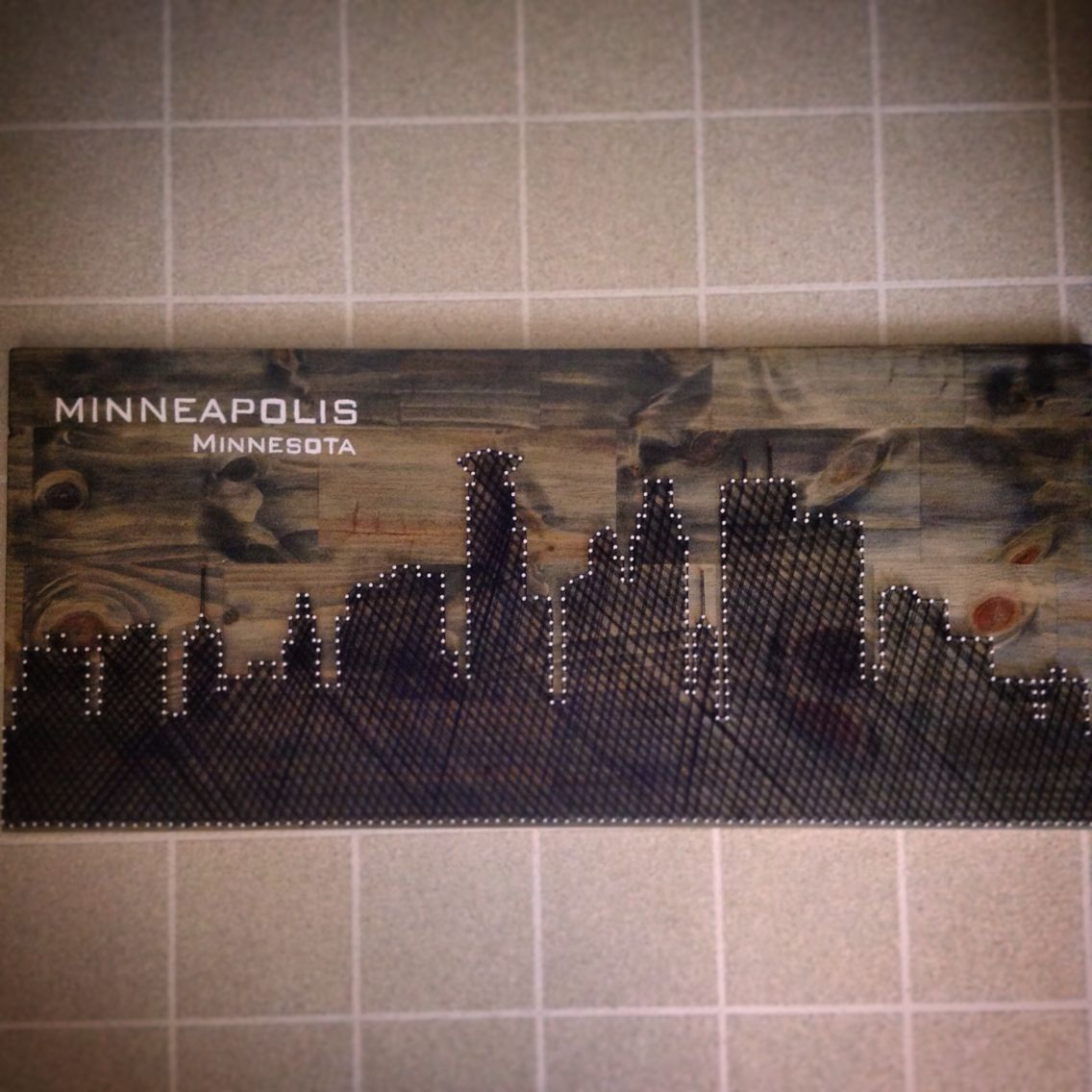 String/nail art of the Minneapolis Skyline. Pretty simple to do ...