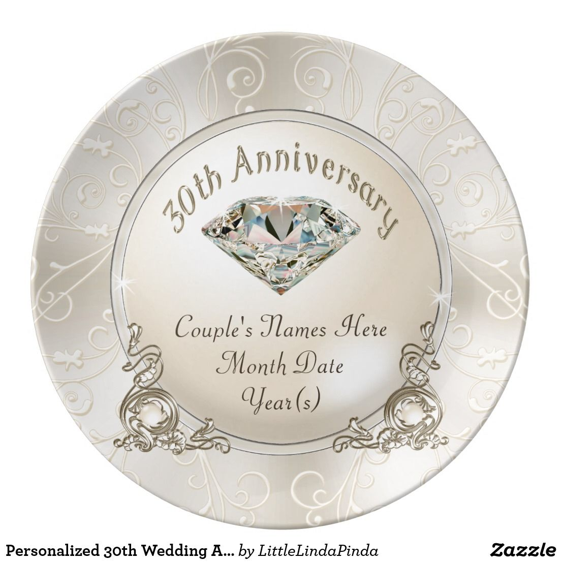 Personalized 30th Wedding Anniversary Gifts Porcelain Plate Zazzle Com 30th Wedding Anniversary Gift Anniversary Gifts 30th Wedding Anniversary