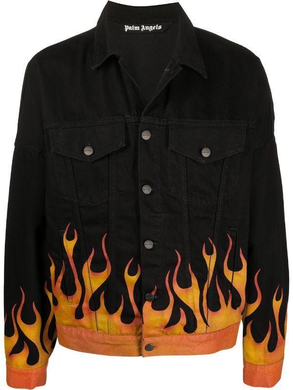 Palm Angels Flames Denim Jacket - Farfetch