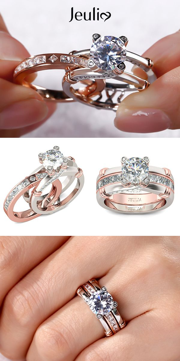 Check this out from jeulia! Jeulia Knot Round Cut Sterling Silver Interchangeable Ring Set