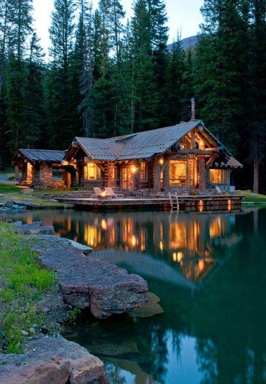 Beautiful wooden house in the forest on the lake a for Dream wooden house