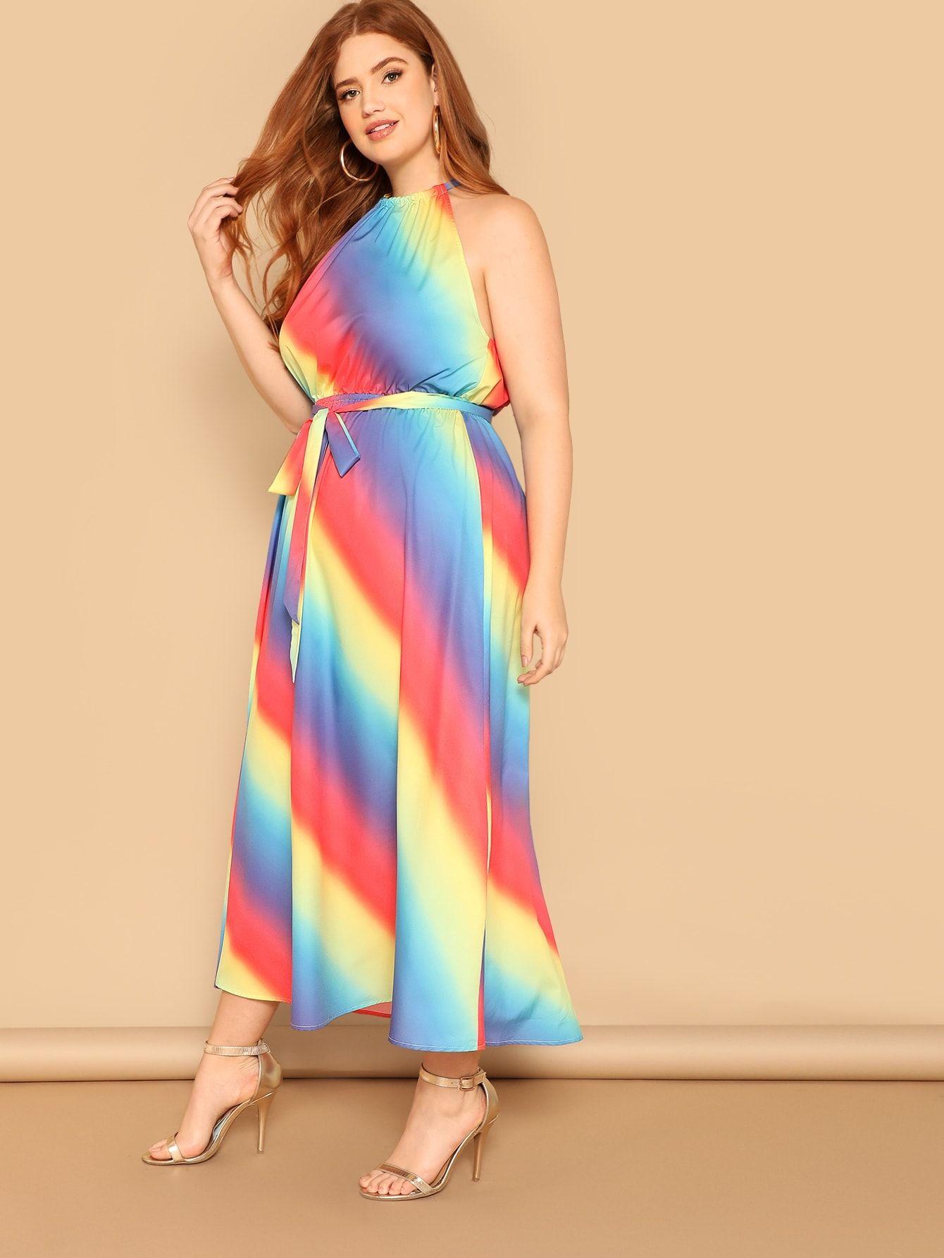 Plus Halterneck Rainbow Ombre Dress With Belt Rainbow Halterneck Ombre Maxi Dress Printed Maxi Dress Plus Size Maxi Dresses [ 1785 x 1340 Pixel ]