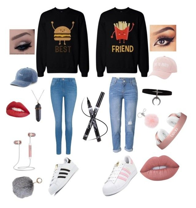 """Besties"" by nicolecruz-nc on Polyvore featuring George, WithChic, adidas, Charlotte Russe, SO, Jouer, Lime Crime, Michael Kors and Humble Chic"