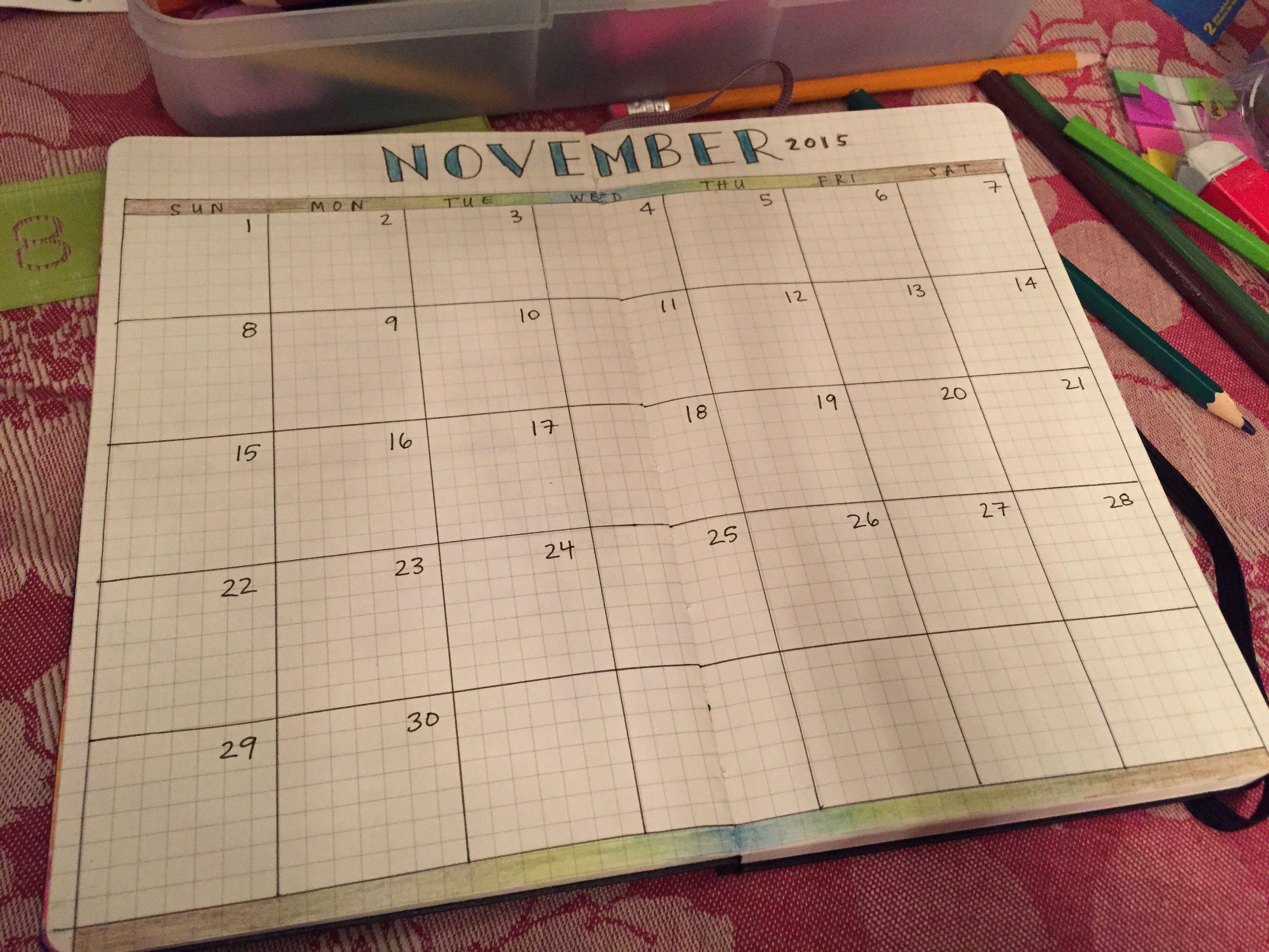 Diy calendar for Moleskine notebook