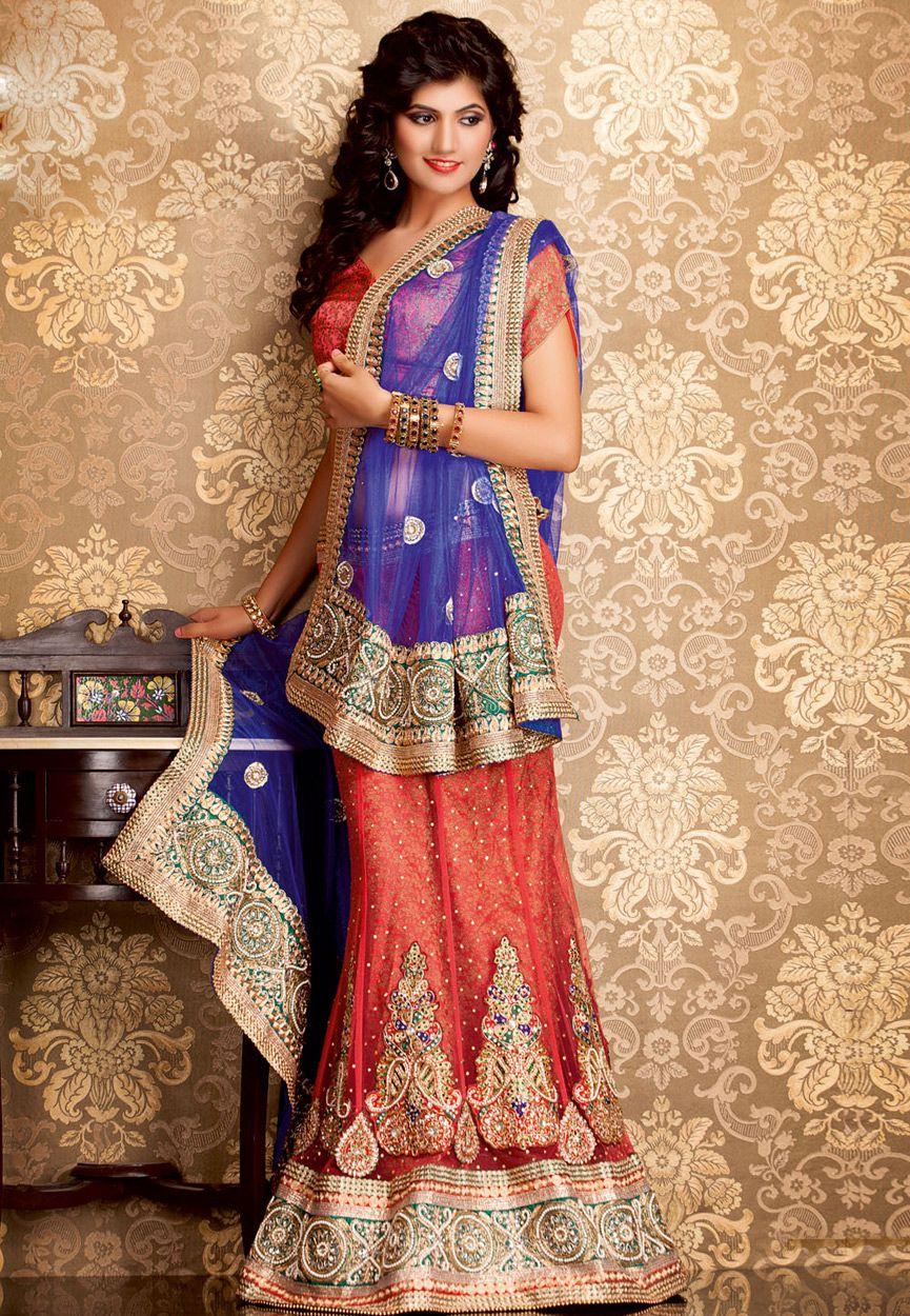 Peach Net #Lehenga Choli with #Dupatta #Online #Shopping ...