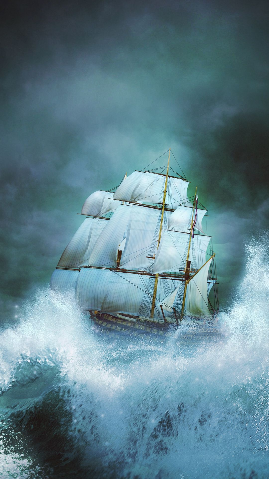 Phone Wallpaper From Zedge Tall Ship On Stormy Sea Phone