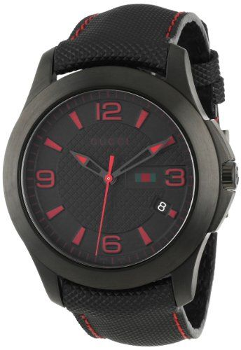 3f5956fe8e0 Gucci Men s YA126224 G-Timeless Black IP Black Techno Leather Strap Watch   Gucci  Mens  YA126224  G-Timeless  Black  IP  Techno  Leather  Strap  Watch