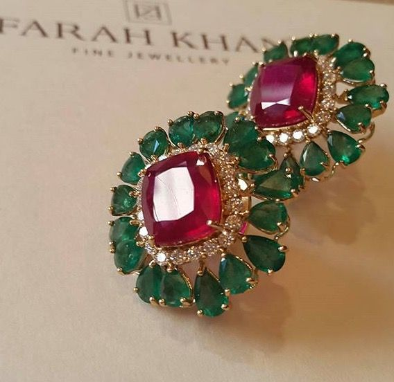 Fkh Ruby And Emerald Earpiece Indian Earrings Jewelry India