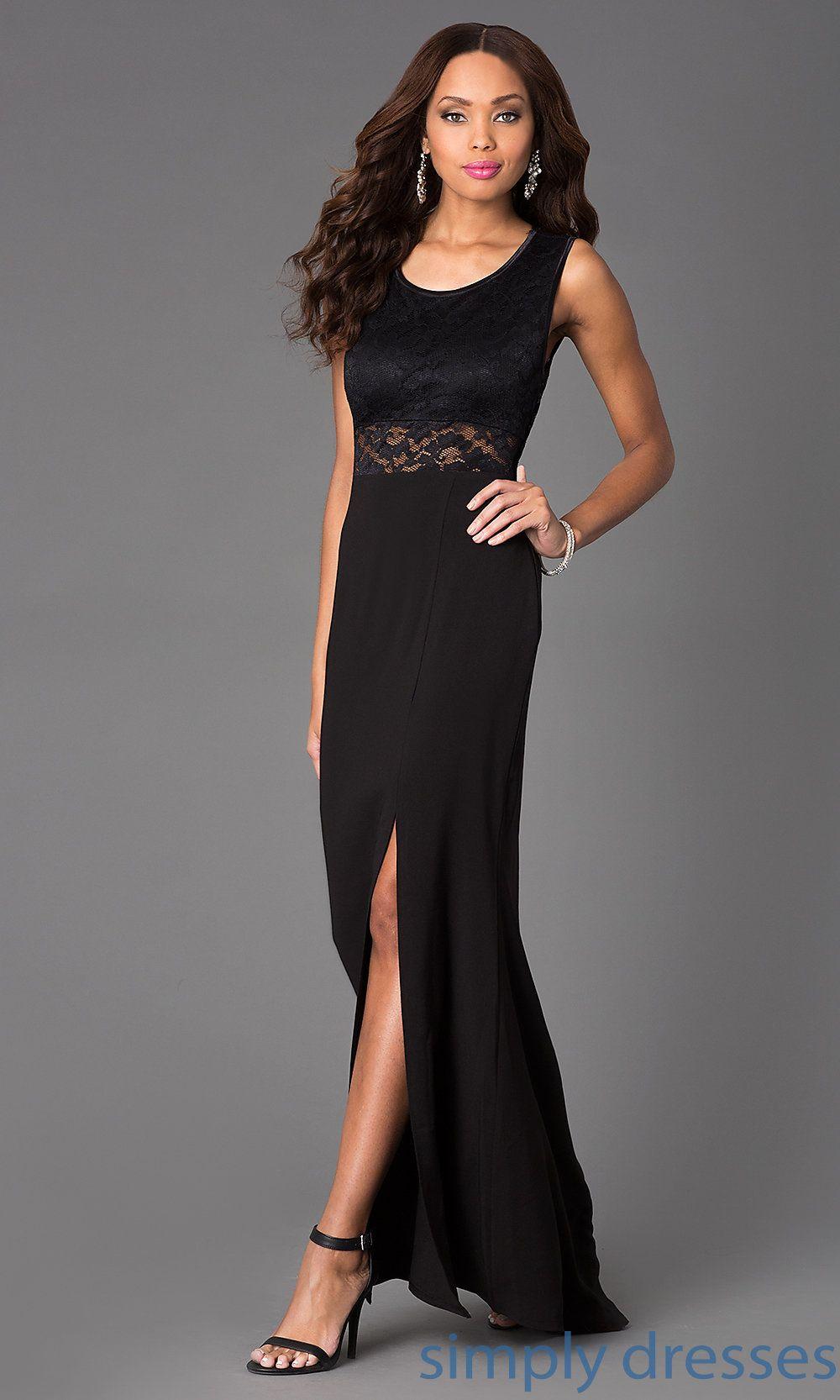 Dress floor length scoop neck lace embellished dress simply