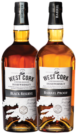 West Cork Distillers Barrel-Proof 124, Black Reserve 86 Irish Whiskeys