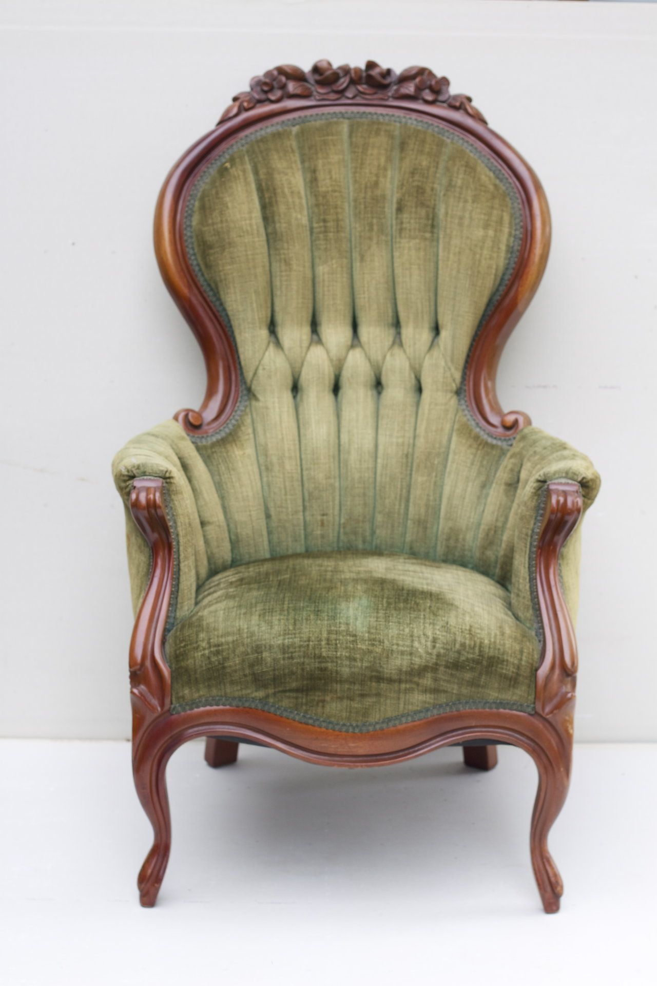 Vintage Chair with tufted sage green chenille upholstery and cherry