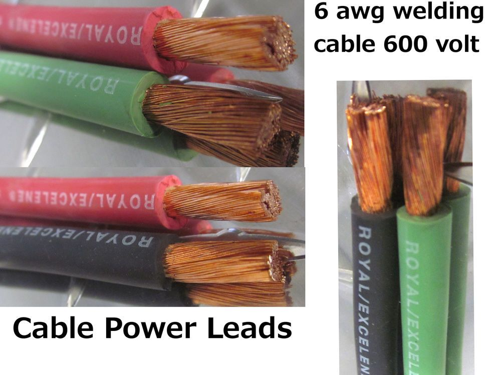 Welding Cable Red, Black, Green 6 AWG GAUGE COPPER WIRE BATTERY ...