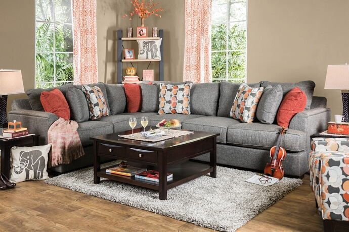 SM1112 2 Pc Pennington Gray Fabric Sectional Sofa Set With