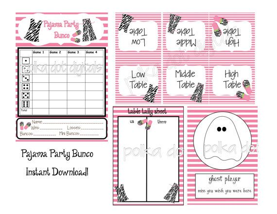 Fabulous Buy 2 Get 1 Free Pajama Party Bunco Set Score Card Sheet Download Free Architecture Designs Scobabritishbridgeorg