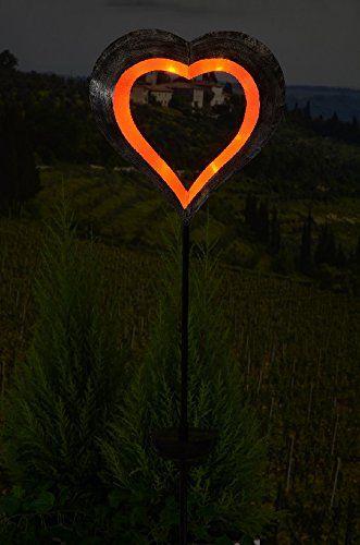 Solar schwebendes Herz rot Solarleuchte Gartenstecker