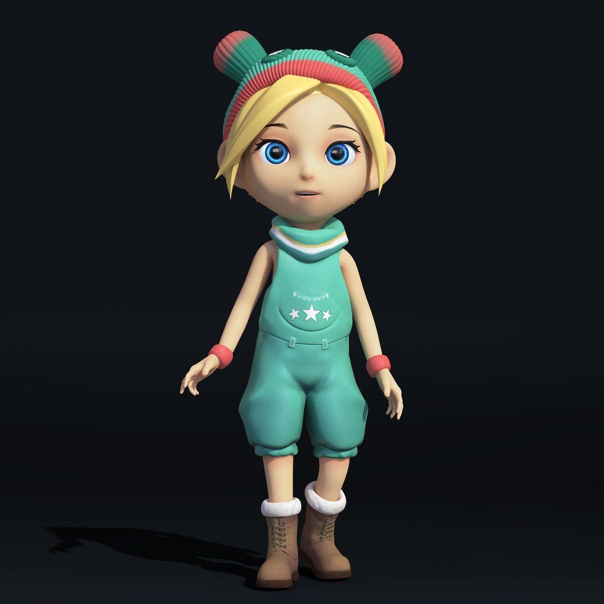3d model cartoon little girl