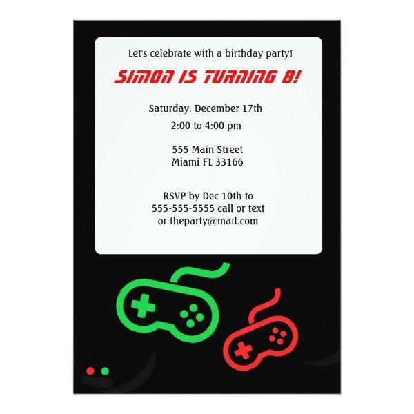 Video game birthday invitation birthday invitations pinterest video game birthday invitation cards birthday invitations stopboris Images