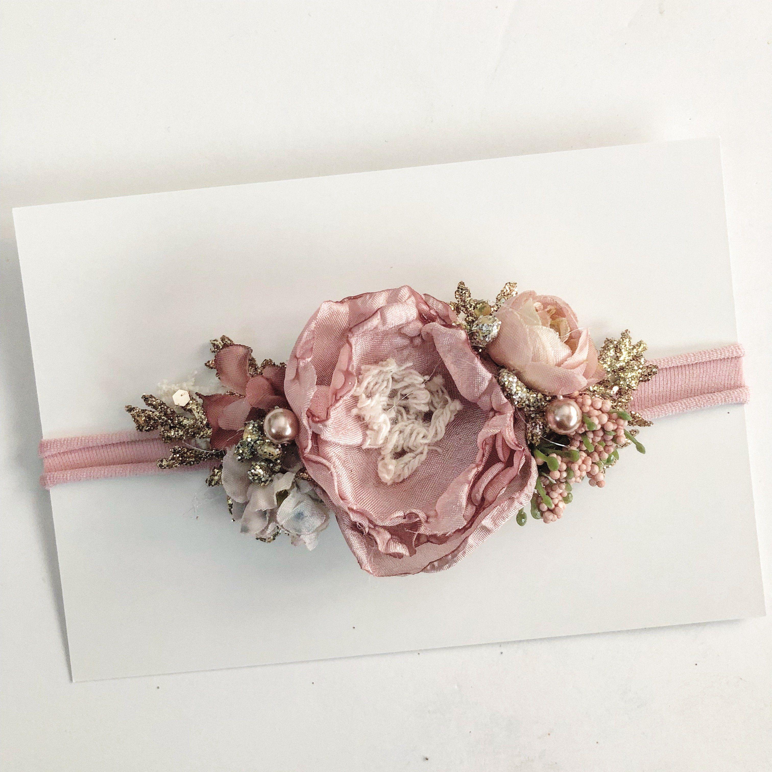 """White 5/"""" oval chiffon flower w// rhinestone /& pearl centers DIY headband"""